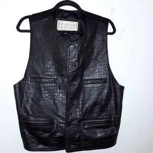 BRAEFAIR LEATHER Men's Vest Black Embossed Croc